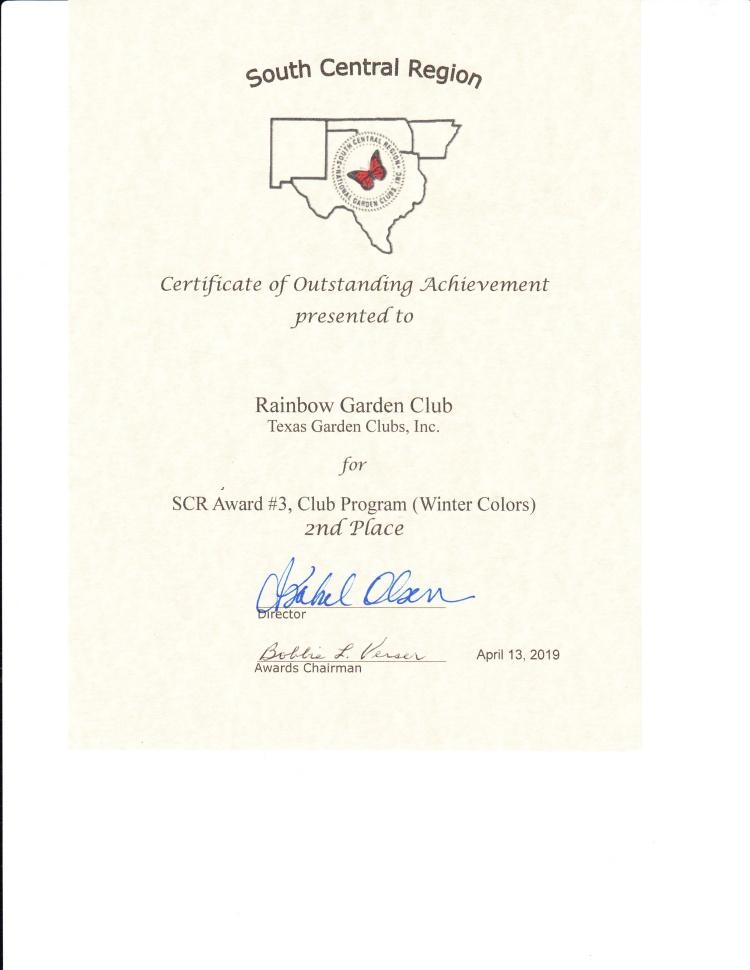 South Central Region 2nd place award - program